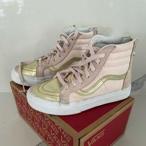 Vans HiSk8 hightop Pink Metallic gold toe shoes